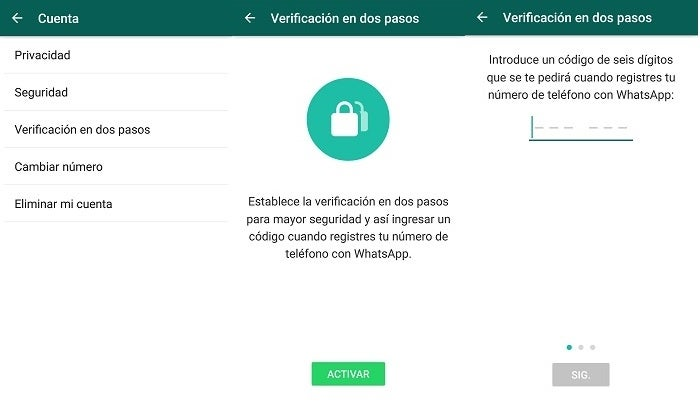 Two-step verification of WhatsApp