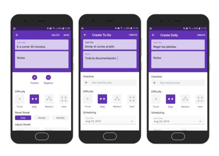 Tasks in the Habitica app