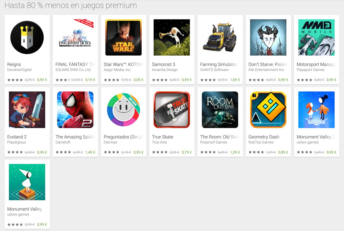 Offers on Google Play for Black Friday: up to 80% less
