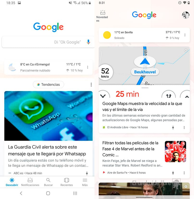 Google Discover: Before / Now