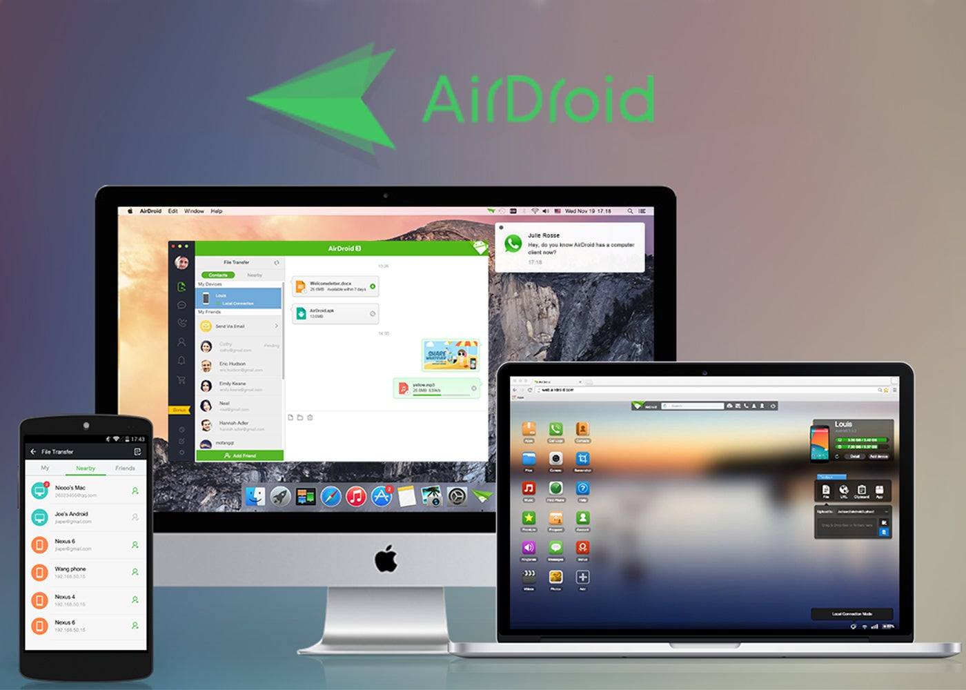 AirDroid for Android, remote control