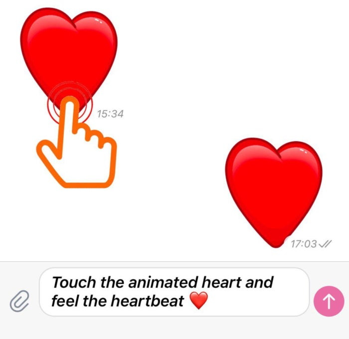 Animated heart emoji on Telegram