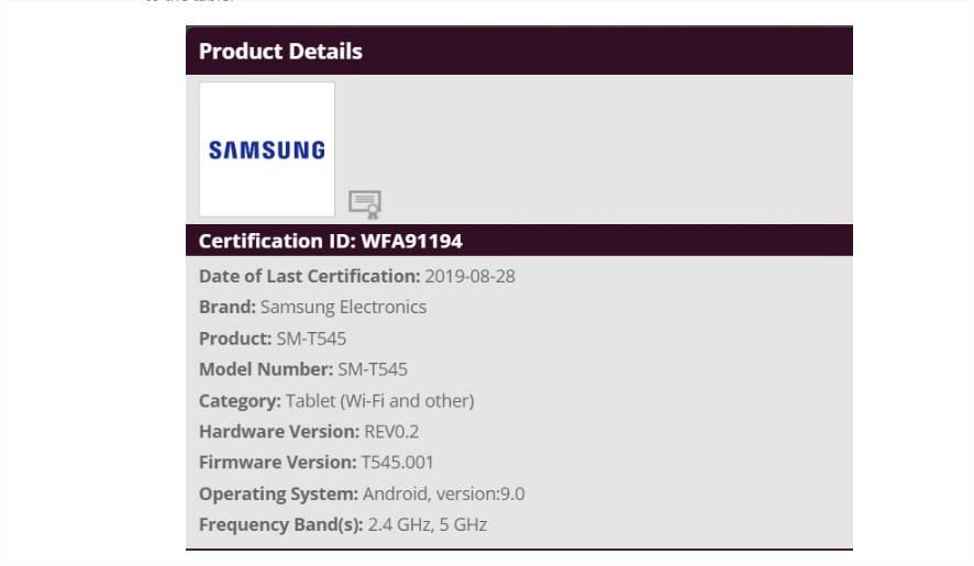 Samsung SM T545 tablet certification
