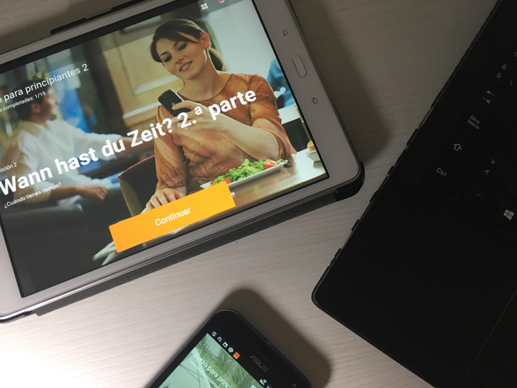 Babbel on the desk, mobile and tablet
