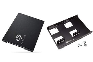 2.5-inch SSD drives like this one from Seagate can be mounted in a conventional bay with a hard drive adapter, if necessary