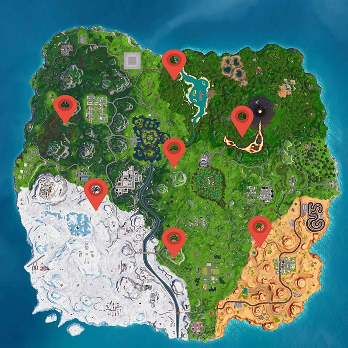 map with all fortnite pirate camps