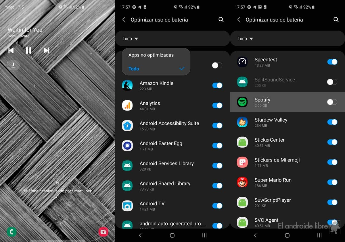 Spotify controls do not work on Samsung Galaxy, so it is fixed