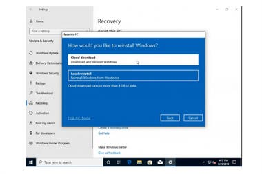 This is the new option that Windows 10 will add to reinstall the operating system without having to have a local copy
