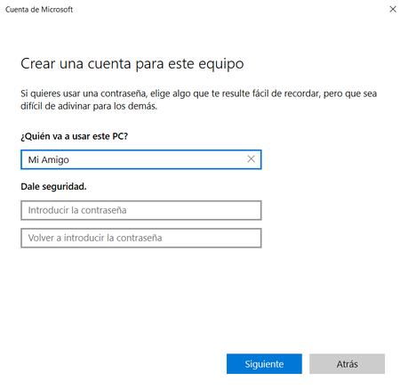 Create Windows 10 account