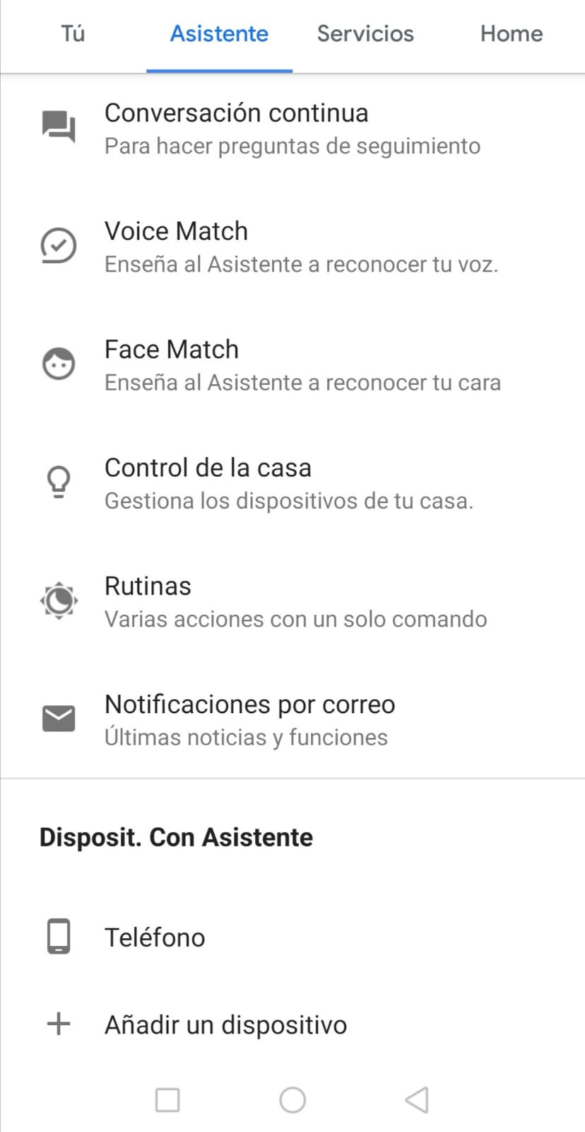 Google Assistant Groups Settings