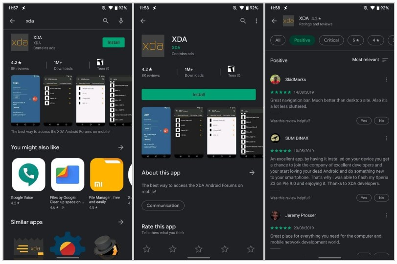 Play Store interface with Dark Mode