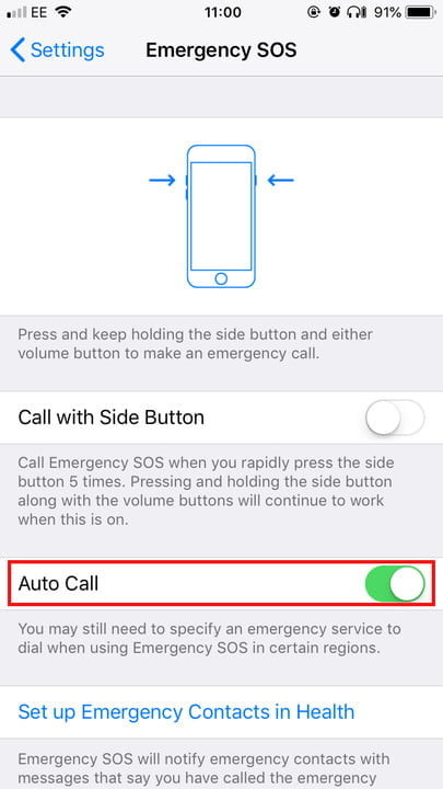 Settings on the iPhone X and 8 Emergency SOS 2 720x720