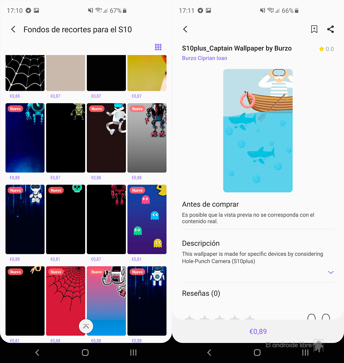 Samsung updates its app store with themes for the Galaxy S10 and its perforated screen