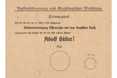 The ballot paper used by the Nazis in 1938