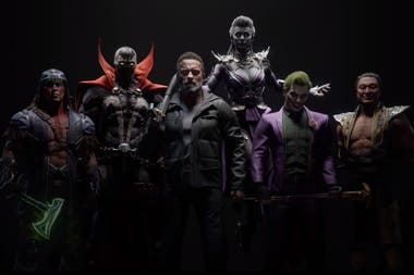 The six characters of the Kombat Pack, with the T-800 that will be available from October 8