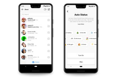 On the left, Threads messages, which are also seen on Instagram (but only those of close friends); on the right, the automatic status for the messenger