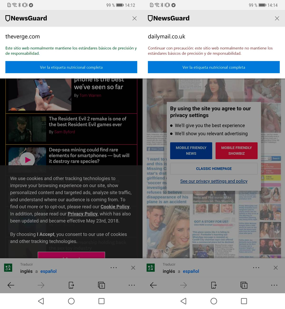 Microsoft's browser notifies you if the page publishes fake news