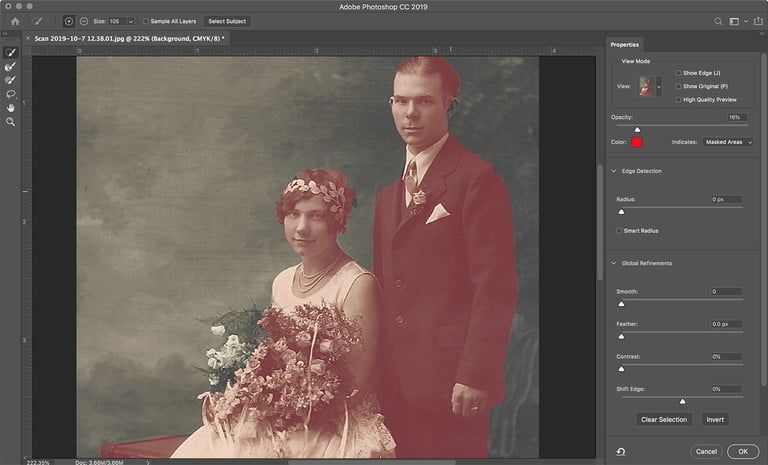Coloring black and white photos recolor select and mask 768x768