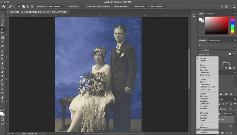 Coloring black and white photos recolor color mode 768x768