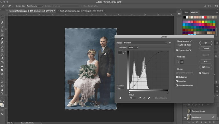Coloring black and white photos recolor curves 768x768
