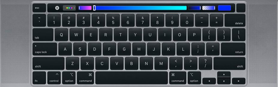 Keyboard of the new MacBook Pro 16