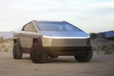 The front of the Tesla Cybetruck truck, with a single lighting line