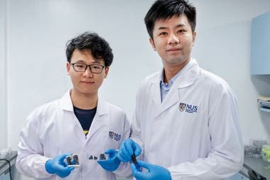 Chen Po-Yen (right), assistant professor at the National University of Singapore and PhD student Yang Haitao developed flexible, lightweight and flexible metal material with the research team