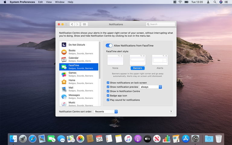 How to change the notification settings on a MacBook Pro
