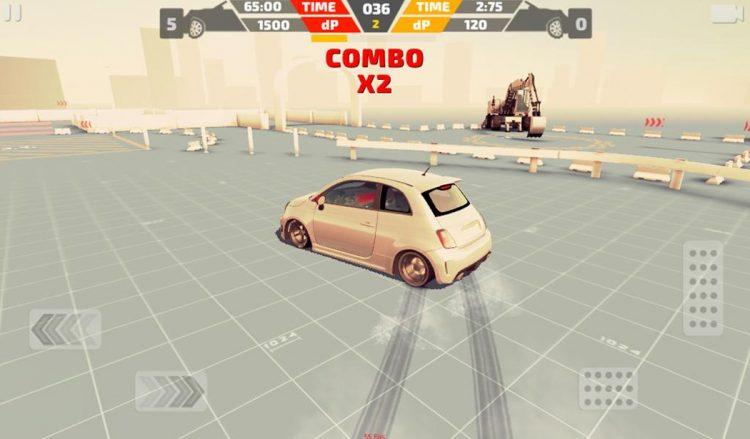 Fiat 500 doing a skidding combo