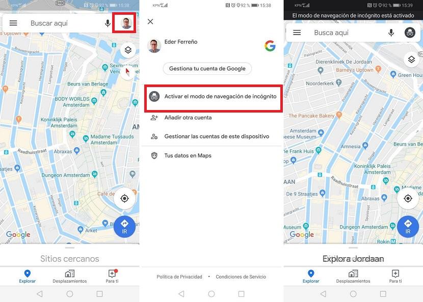 Incognito mode Google Maps