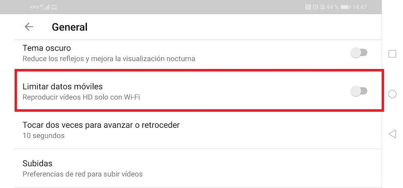 YouTube limit mobile data