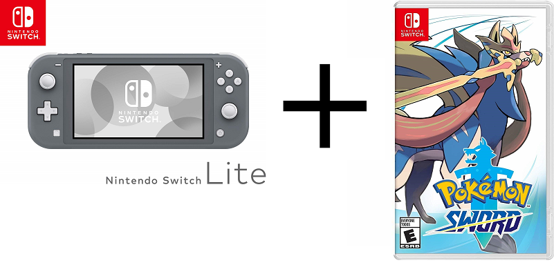 Nintendo Switch Lite package with Pokemon Sword