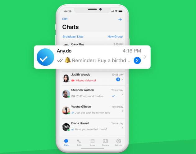 whatsapp create reminders any do 1