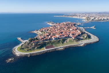 An aerial view of Nessebar, Bulgaria, on the Black Sea coast