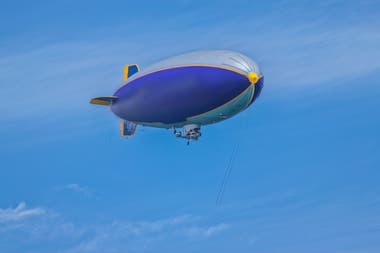 Current airships use helium to float in the air; the first models used hydrogen which is highly combustible