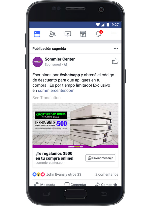 Facebook ads are integrated with WhatsApp on your mobile