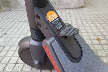 Unlike the rental versions, the personal Segway Ninebot scooter can be folded after pressing this small pedal