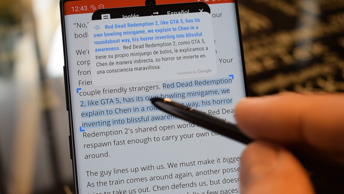 Translate text with the S Pen
