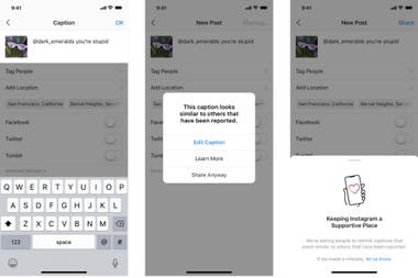 A preview of the warning Instagram will issue after detecting an offensive text