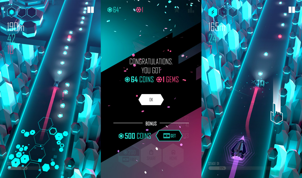 Cars, neons and electronic music in Beat Racer