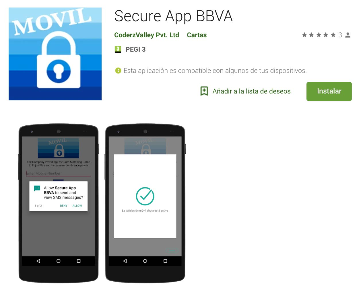 False Spanish bank applications that steal with SMS