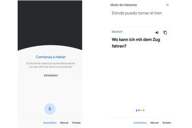 The simultaneous translator interface integrated with Google Assistant