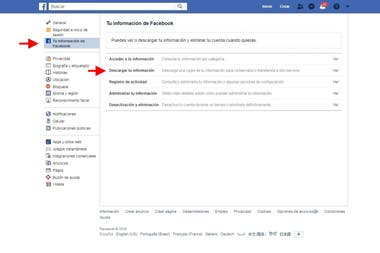 The Facebook Web menu to download all our data, including photos and videos