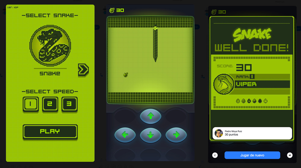 Facebook Messenger includes the Snake game