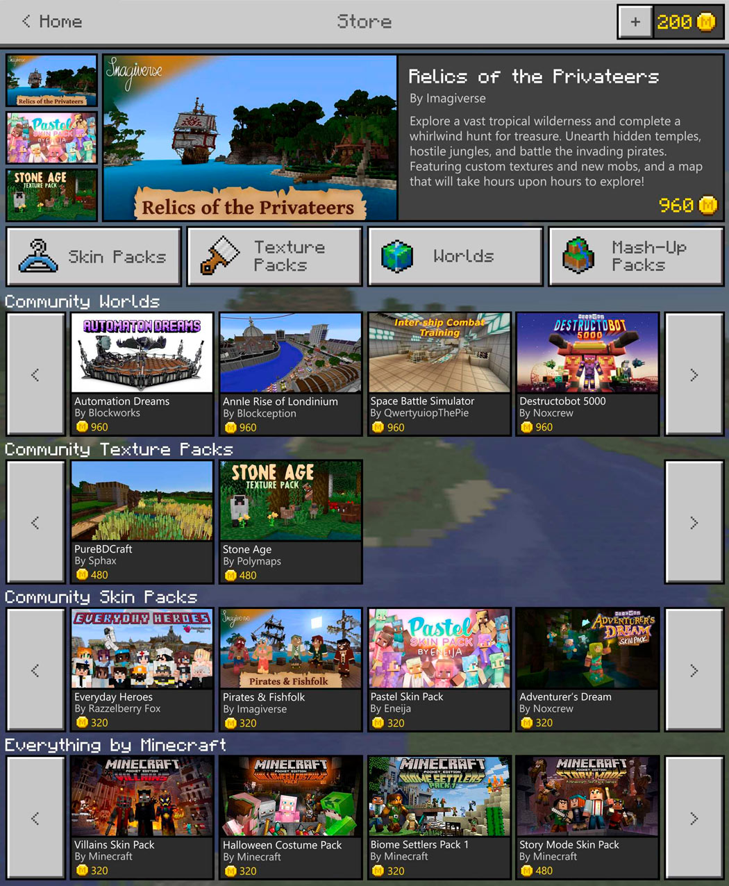 Minecraft Pocket Edition will have download store with its new update