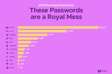 The ranking of most popular princesses according to the passwords exposed in the computer attack on Disney +
