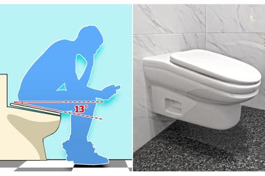 The proposed design for the toilet tilts it forward, to force its user to get up after a few minutes