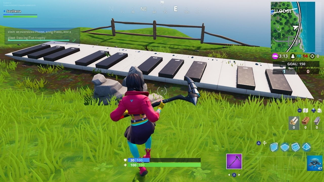 fortnite visit phone huge piano big trophy giant dancer fish a very phone and dance n