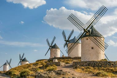 Medieval windmills in Toledo, Spain; they are the ones Don Quijote fought, confusing them with giants