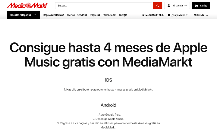 Image - Offer: 4 months free of Apple Music in MediaMarkt